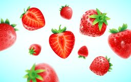 Strawberry set, detailed realistic ripe fresh strawberries with half and green leaves with water droplets isolated on a. Blue background. 3d illustration Stock Image