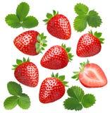 Strawberry set isolated on white background stock photo