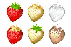 Strawberry Set, Isolated On White. Vector Stock Images