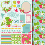 Strawberry Shabby Chic Theme stock illustration