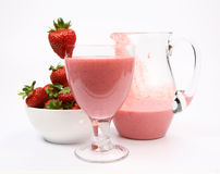 Strawberry Shake And Strawberries Royalty Free Stock Photos