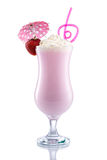 Strawberry Shake with design Umbrella and Straw Stock Image