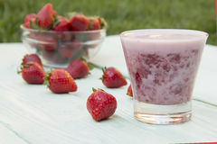 Strawberry shake in a glass Royalty Free Stock Photography