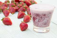 Strawberry shake in a glass Royalty Free Stock Images