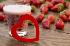 Strawberry shake in a glass Stock Images