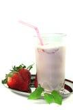 Strawberry shake with lemon balm royalty free stock photos