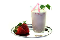 Strawberry shake with lemon balm Stock Image
