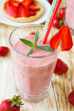 Strawberry shake and strawberry dessert Royalty Free Stock Photos