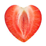 Strawberry shape as heart Stock Image