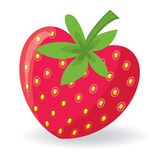 Strawberry with shape of heart. Vector illustration Stock Image