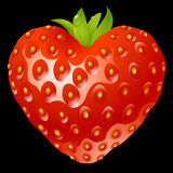 Strawberry in the shape of heart Stock Image