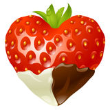 Strawberry in the shape of heart. Vector strawberry in the shape of heart stock illustration