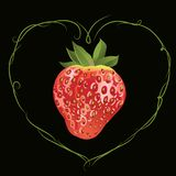 Strawberry in the shape of heart. Strawberry in the frame of heart. Vector realistic illustration. Design for grocery, farmers market, tea, natural cosmetics Royalty Free Stock Photos