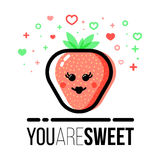 Strawberry shape icon for Saint Valentine Day greeting card. Flat line style. Royalty Free Stock Photography