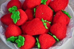 Strawberry shaped biscuits Stock Photography