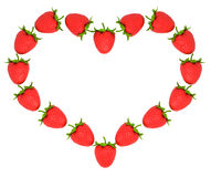 Strawberry shaped heart over white Stock Photos