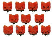 Strawberry Cat Emotions. Strawberry shaped like a cat head and make up to be face have many emotions royalty free stock photography