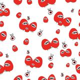 Strawberry with sharp mouth seamless pattern.vector royalty free stock image