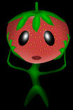 Strawberry in shock. This character instead of a head strawberries, instead of the body - a plant. She grabbed his head and opened his mouth Stock Photo