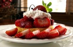 Strawberry shortcake. A plate of delicious strawberry shortcake dessert stock image