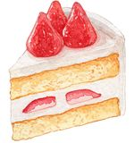 Strawberry Shortcake bread Watercolor Illustration royalty free stock image
