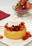 Strawberry shortcake. Bright red ripe lucious strawberries topped with syrup and whipped cream on a yellow shortcake. Served on a square plate set on a white royalty free stock image