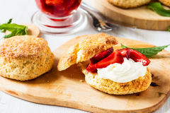 Strawberry shortcake with cream Royalty Free Stock Photography