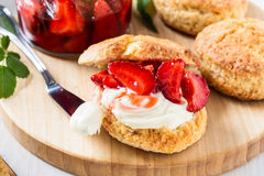 Strawberry shortcake with cream Royalty Free Stock Photo