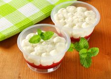 Strawberry shortcake desserts. In plastic cups royalty free stock photos