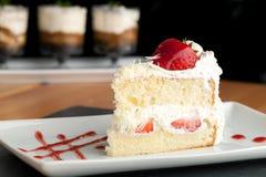 Strawberry Shortcake Slice Royalty Free Stock Images