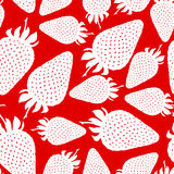 Strawberry silhouette pattern seamless on red background Royalty Free Stock Photo