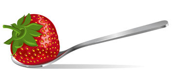 Strawberry in a silver spoon Royalty Free Stock Photos
