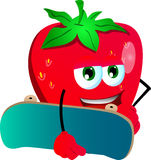 Strawberry with skateboard Royalty Free Stock Photography