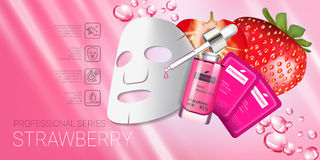 Strawberry skin care mask ads. Vector Illustration with strawberry smoothing mask and serum Royalty Free Stock Image