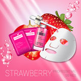 Strawberry skin care mask ads. Vector Illustration with strawberry smoothing mask and serum Stock Photography