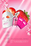 Strawberry skin care mask ads. Vector Illustration with strawberry smoothing mask and serum Royalty Free Stock Images