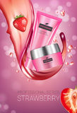 Strawberry skin care series ads. Vector Illustration with strawberry smoothing cream tube and container Royalty Free Stock Image