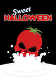 Strawberry skull falls in milk. Splashes of white milk. Vector i Royalty Free Stock Photo