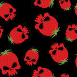 Strawberry skull seamless pattern. Red head skeleton with textur Stock Images