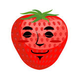 Strawberry sleep Emoji. Red berry asleep emotion isolated.  Royalty Free Stock Photo