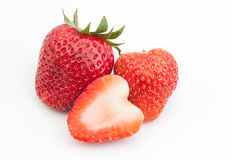 Strawberry slice. Fresh Strawberry slice on white background Stock Photos