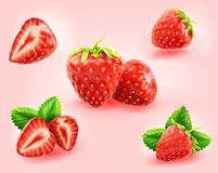 Strawberry slice,half,fresh with strawberry leaf isolated   Royalty Free Stock Images
