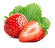 Strawberry with sliced half isolated on white background. Strawberry with sliced half and leaves isolated on white background stock photo