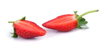 Strawberry. Sliced strawberry on white isolated background royalty free stock images