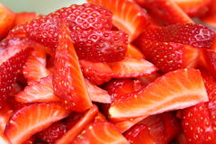 Strawberry slices cut Stock Photography