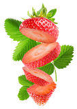 Strawberry slices isolated on the white background Stock Photo