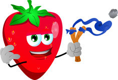 Strawberry with a slingshot Stock Images