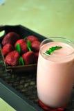 Strawberry smoothie. Healthy, tasty, fresh, bio beverage in summer days Stock Photography