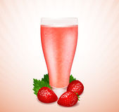 Strawberry smoothie with berries and leaves Royalty Free Stock Images