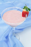 Strawberry smoothie in cocktail glass vertical Stock Photos